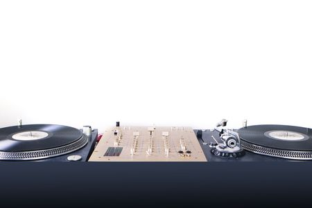 dj equipment gramophone and mixete isolated on white photo