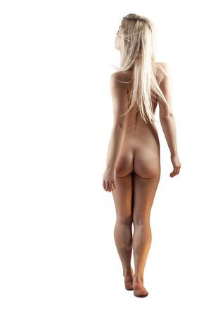 nude woman standing: angelic looking beautiful young woman showing her naked body Stock Photo