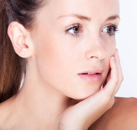 Fresh woman face with hand at cheek Stock Photo - 7542904