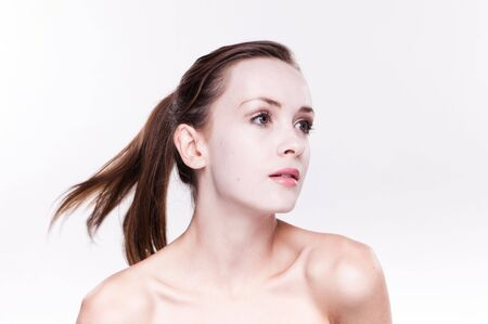 Fresh  woman face with hair on move Stock Photo - 7542901