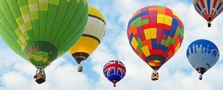 lot of hot air baloons with blue sky background Фото со стока