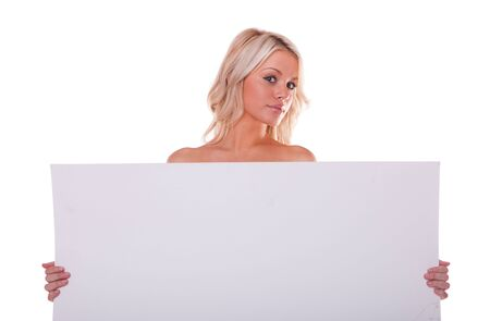 sexy girl holding a billboard add isolated over a white background photo