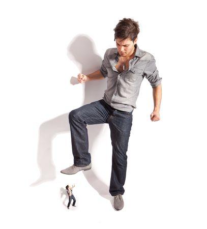 big foot: handsome man beg do not hurt him