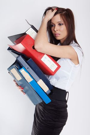 Too much work. A stressed businesswoman has a headcahe. Stock Photo - 7889884