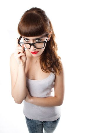 confrontational: Teenage girl with a big glasses