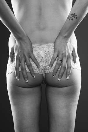 Sexy woman ass in lingerie black and white Stock Photo - 8042053