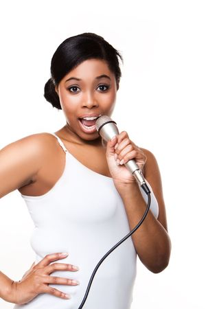 kareoke: Black Woman Singing on white