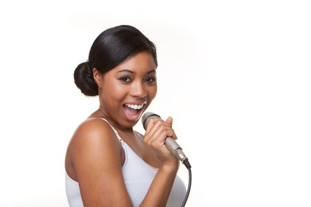 singing girl: Black Woman cantar karaoke