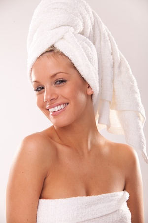 after the bath: Closeup portrait of young beautiful woman after bath Stock Photo