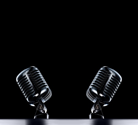 two Retro Mics stage background in black with space for text  photo