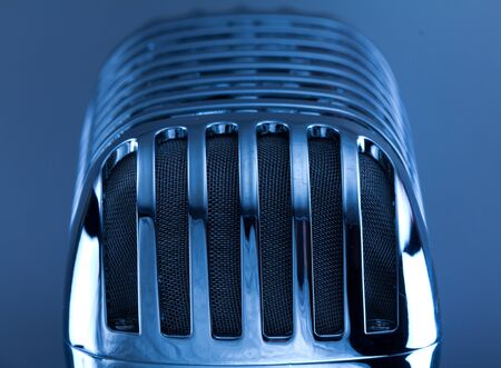 Retro Mic close up on silver background
