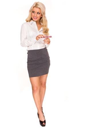 sexy secretary: Mujer de negocios hermosa joven aislada sobre fondo blanco. Secretario sexy