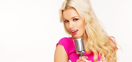 karaoke singer: pop female blonde wearing pink singer with the retro microphone banner