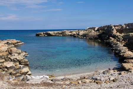 Beautiful lagoon with rock  on Cyprus Stock Photo - 9625124