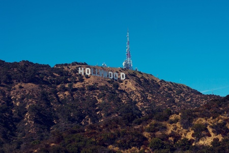 oscars: hollywood hills , route to the famous sign in los angeles