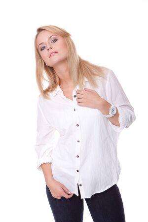 enquiring: blond woman