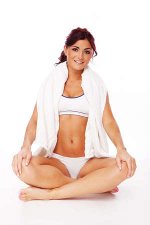 fitness woman during some yoga exercises  photo