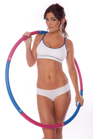 hoops: women exercise with hoop on white background