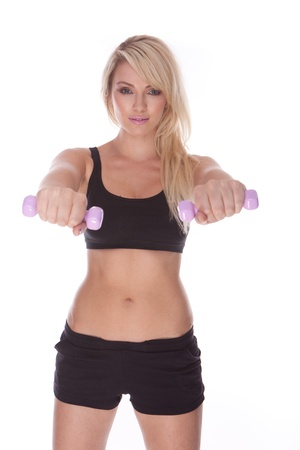fitness blonde woman on white background  Stock Photo - 11736111