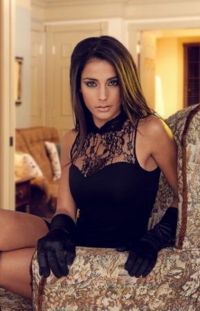 beautiful sexy brunette woman photo