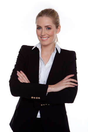 managerial: Confident Smiling Businesswoman Arms Crossed standing on white, studio