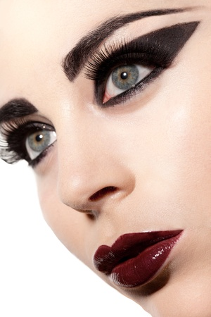 sultry: Closeup of the facial features of a beautiful sultry woman in creative Gothic makeup Stock Photo