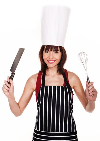 young knife: Smiling pretty girl in a chef