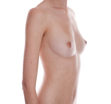 breasts pretty: Closeup of female breasts over white background