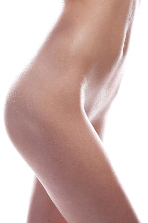 wet breast: beautiful naked wet woman on the white background