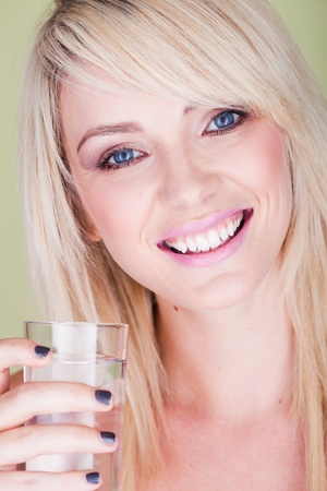 beautiful woman with glass of water - very soft and natural photo ,  photo