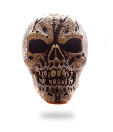 eye socket: Frontal view of a copy of a human skull with dark eye sockets on white, backlit studio image for horror and halloween concepts