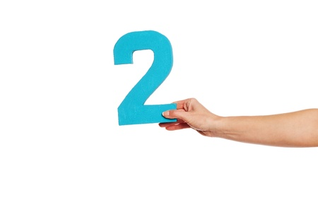 quantity: Female hand holding up the number 2 against a white background conceptual of numbers, measurement, amount, quantity, accounting and mathematics