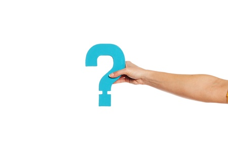 Female hand holding up a turqise question mark against a white background conceptual of questions, query, why or what. Stock Photo - 16147402