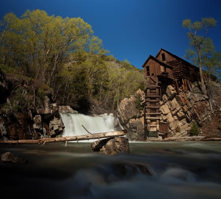 Crystal Mill, or Lost Horse Mill, is an old wooden power house with a water turbine that used to drive an air compressor for the nearby silver mines in Colorado