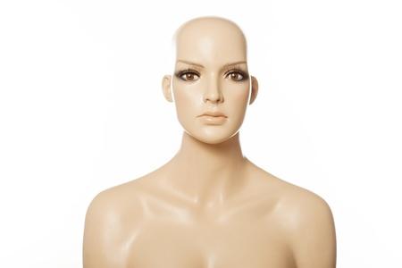 Chef d'un visage de femme mannequin sur blanc
