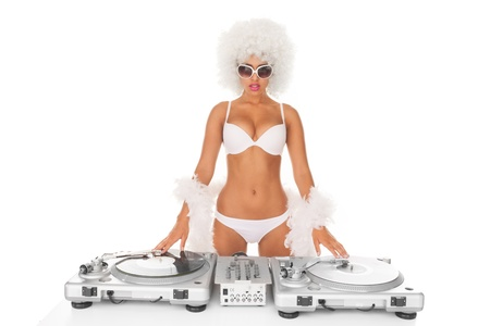 sexy dj woman on white djing photo