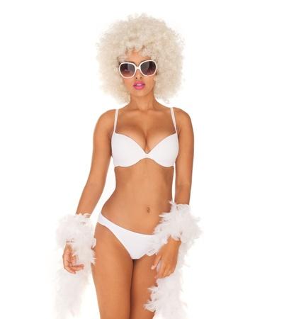 crazy hair: sexy woman wearing white bikini and afro on white