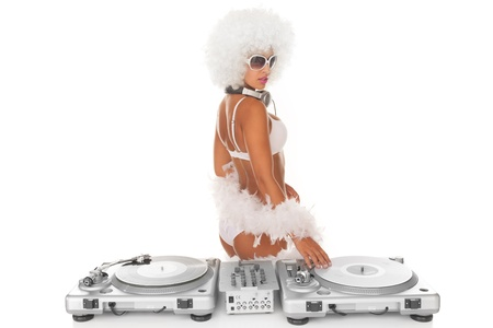 sexy dj afro woman on white djing photo