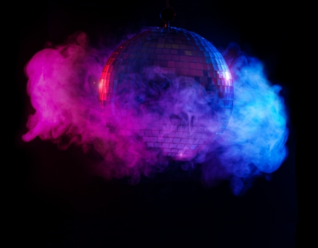 mirror ball: Party lights disco ball in smoke Stock Photo