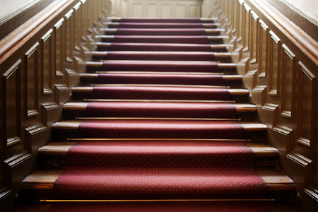 View from the bottom of an empty wooden staircase with red carpet with paneling at the sides photo