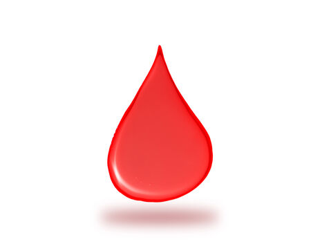 murdering: Illustration of a red drop of liquid falling down, symbol of healthcare or blood donations, with shadow on white background Stock Photo