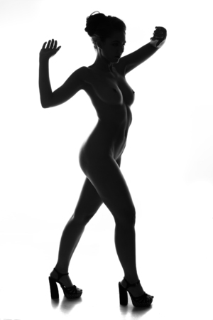 degenerative: contours of the female body on a dark background