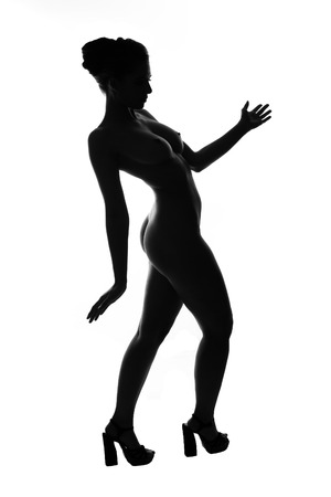 contours of the female body on a dark background photo