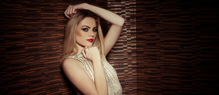 'evening wear': Beautiful sophisticated glamorous woman wearing makeup and elegant evening wear, upper body portrait against darkness with copyspace
