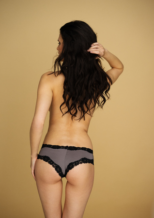nude woman back: Topless woman in sexy lacy panties standing with her back to the camera and her long brown hair falling loose down her back on a brown background