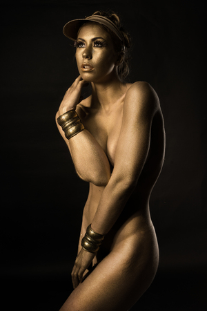 bodypainting: Golden nude Metallic bodypainting woman body