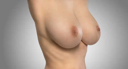 bare breast: Female upper body with breasts exposed on white background Stock Photo