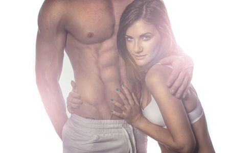 nude abs: Sexy Romantic Couple on Haze Portrait. Emphasizing Seductive Woman While Touching Sexy Partner.