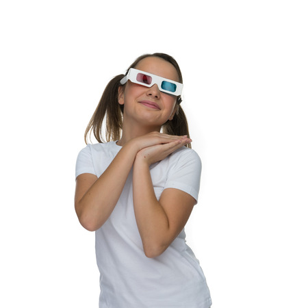 stereoscopic: Young girl with her hair in pigtails wearing 3d stereoscopic glasses, ioslated on white