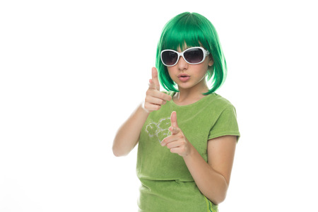 edu: Close up Young Green Hair Girl on Fashion Pose Isolated on White Background.